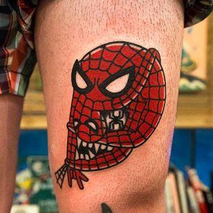 Two in One Spiderman Tattoo by Woo @Woo_Tattooer #WooTattooer #Seoul #Korea #TwoinOneTattoo #OpticalIllusion #OpticalIllusionTattoo #Spiderman