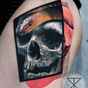 Mashup tattoo by Chris Rigoni #ChrisRigoni #besttattoos #blackandgrey #color #realism #realistic #hyperrealism #skull #snake #animal #reptile #death #abstract #shapes #dotwork #linework #tattoooftheday