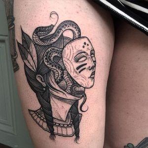 Abstract Girl Tattoo by Nhat Be #blackwork #blackink #blackworkartist #darkartist #vietnam #NhatBe