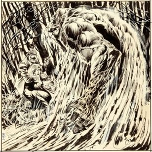 The original b&w drawing of issue one of Swamp Thing by Bernie Wrightson #berniewrightson #swampthing