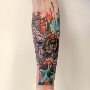 Woman Tattoo by Martynas Šnioka #woman #womantattoo #watercolor #watercolortattoo #abstract #abstracttattoo #graphic #graphictattoo #lithuanian #MartynasSnioka
