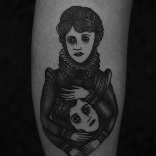 Conjoined Twins by Happypets (via IG-happypetsink) #blackink #illustrative #traditional #macabre #sinister #dark #happypetsink