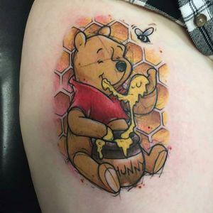 'Winnie the Pooh' tattoo by Brad Bellante. #sketch #watercolor #winniethepooh #pooh #poohbear #nostalgia #children #tvshow #cartoon #book #BradBellante