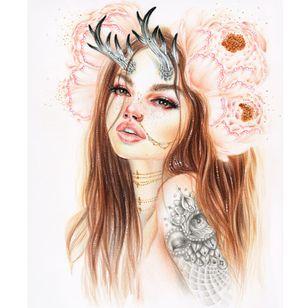 Tattooed doe via @relmxx #Relm #ARTSHARE #painting #fineartist