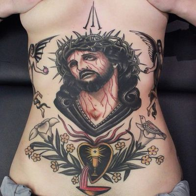 Christian tattoos by Jarrett Crosson #JarrettCrosson #religioustattoo #color #traditional #Jesus #Christ #crownofthorns #angels #serpent #snake #blood #lily #flowers #sacredheart #cross #nails #Christian #Catholic #tattoooftheday
