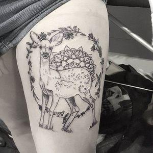 Fawn Tattoo by Eloise Entraigues #fawn #linework #blacklinework #contemporary #illustrative #EloiseEntraigues