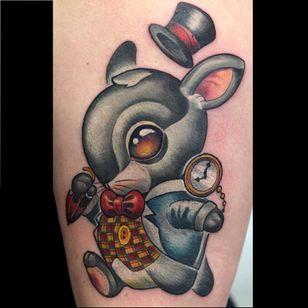 Alice in Wonderland's rabbit tattoo by Rude Eye #RudeEye #newschool #animal #cute #kawaii #babyanimal #rabbit #aliceinwonderland
