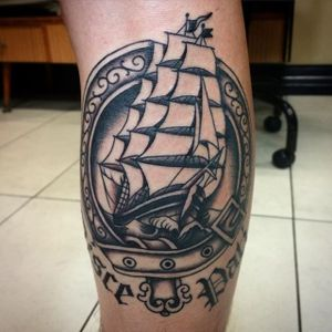 Black and grey ship by Nick Rutherford. #traditional #NickRutherford #tattooflash #ship #bigship #blackandgrey