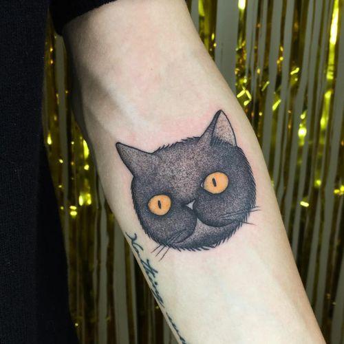 Sweet bb kitty tattoo by J R Fleming #JRFleming #cattattoos #illustrative #color #blackandgrey #cat #petportrait #halloween #linework
