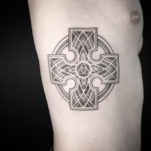 Celtic cross by Seth Arcane. #dotwork #SethArcane #linework #celtic #celticcross #cross