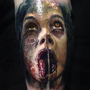 Gruesome by Paul Acker (via IG-paulackertattoo) #horror #horrorrealism #portrait #color #realism #halloween #zombie #PaulAcker