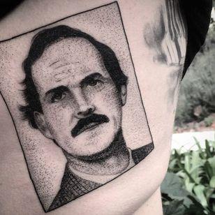 John Cleese box tattoo by Charley Gerardin. #CharleyGerardin #box #portrait #contemporary #pointillism #blackwork #dotwork #handpoke #johncleese #actor