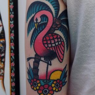 Pink Friend by Electric Martina #ElectricMartina #color #traditional #palmtree #beach #flamingo #sunset #sun #flowers #ocean #nature #landscape #tattoooftheday