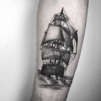 Ship at sea tattoo by Nathan Kostechko #NathanKostechko #sailortattoos #blackandgrey #illustrative #ocean #ship #boat #waves #sails #sea #detailed #linework #waves #seascape