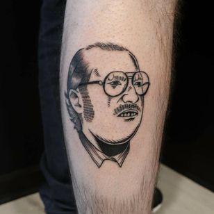 Illustrative tattoo by Kim Tran #KimTran #illustrative #graphic #blackwork #portrait #surrealistic