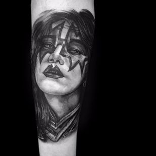 Ace by Jimi May #JimiMay #realism #realistic #hyperrealism #portrait #blackandgrey #Kiss #music #musictattoo #Ace #AceFrehley #stars #rockandroll #tattoooftheday