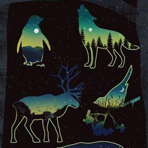 Bear overlay flash tattoo by Daria Stahp. #DariaStahp #bear #overlay #flash #nightsky #bird #moose #penguin #silhouette