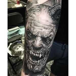 Demon tattoo by Seunghyun 'Potter' Jo. #SeunghyunJo #SeunghyunPotterJo #Potter #blackandgrey #macabre #demon #horror