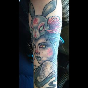 Rabbit lady tattoo. #KatiBerinkey #rabbit #lady #sketchtattoo #sketchstyletattoo