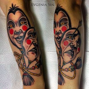 Amazing concept and execution of the tragedy masks. Smile now cry later, tattoo by Evgenia Sin. #EvgeniaSin #neotraditional #coloredtattoo #mask #theater #smilenowcrylater