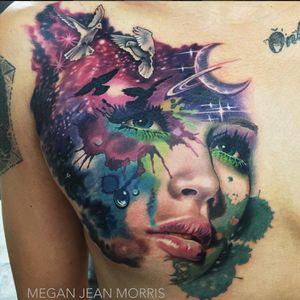 Megan Jean Morris shows her diversity with this watercolor tattoo. (Via IG - meganjeanmorris) #MeganJeanMorris #freehand #blackandgrey #color #realism #surrealism #watercolor