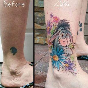 'Winnie the Pooh' tattoo by Gina Fote. #watercolor #sketch #eeyore #donkey #winniethepooh #pooh #poohbear #nostalgia #children #tvshow #cartoon #book #GinaFote