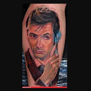 Super realistic David Tennant's 10th Doctor tattoo via Flavorwire #doctorwho #doctorwhotattoo #davidtennant #colorrealism #hyperrealism #scifitattoo