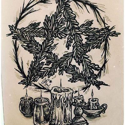 Pentacle by Leslie Karin (via IG-catxbone) #illustrative #blackink #mutedcolor #flora #fauna #magic #LeslieKarin