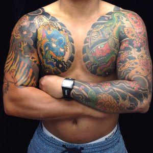 Very animalistic Japanese sleeves by Rhys Gordon. #RhysGordon #Japanese #traditionaljapanese #sleeve #Japanesesleeve #tiger #dragon #turtle