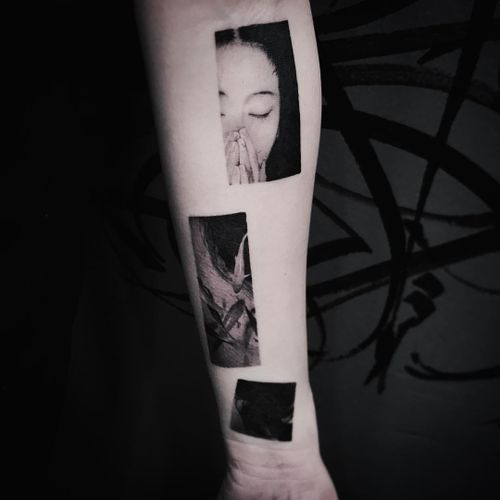 Moments tattoo by Cold Gray #ColdGray #blackandgrey #realism #realistic #hyperrealism #portrait #lady #ladyhead #fish #koi #pond #photo #nature
