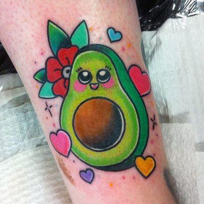 Avocado by Shell Valentine (via IG-shell_valentine_tattoo) #kawaii #girly #colorful #traditional #food #ShellValentine