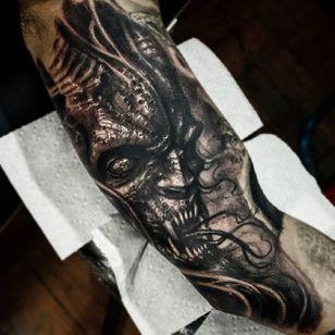 Demon Tattoo by Matias Felipe #demon #darkart #darkink #darkartist #blackwork #blackandgrey #MatiasFelipe