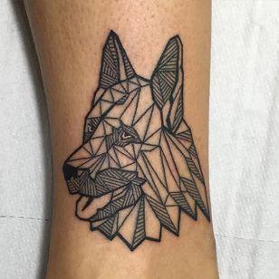 Geometric linework German Shepherd tattoo by Antonio Cerra. #dog #germanshepherd #linework #geometric #AntonioCerra