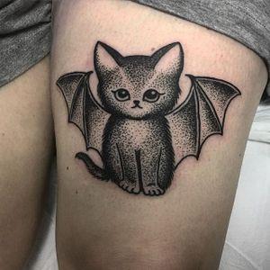 Bat Cat Tattoo by Sarah Whitehouse #catbat #dotworkanimal #dotwork #dotworktattoo #animal #SarahWhitehouse