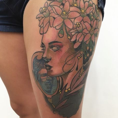 #RafaelMacieira #brasil #brazil #brazilianartist #neotrad #neotraditional #tatuadoresdobrasil #woman #mulher #flor #flower #espelho #mirror #folha #leaf #colorido #colorful
