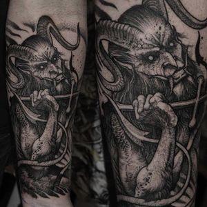 Demon by Rob Borbas (via IG-grindesign_tattoo) #illustrative #horror #blackandgrey #robborbas #Grindesign