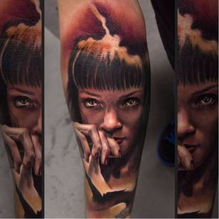 Color realism Mia Wallace tattoo by Charles Huurman. #CharlesHuurman #colorrealism #MiaWallace #femmefatale #classic #pulpfiction #cultfilm #film #movie #QuentinTarantino #moviecharacter #femmefatale #portrait