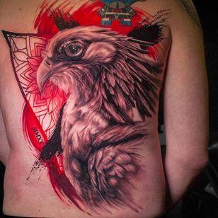Eagle tattoo by Michael Cloutier @cloutiermichael #Michaelcloutier #blackandgray #blackandgrey #blackandred #black #red #trashpolka #realism #eagle