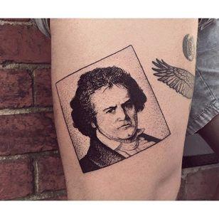 Ludwig van Beethoven box tattoo by Charley Gerardin. #CharleyGerardin #box #portrait #contemporary #pointillism #blackwork #dotwork #handpoke #ludwigvanbeethoven #beethoven #composer #classicalmusic #history #icon