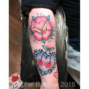 Cherry tattoo by Rachel Baldwin. #cherry #fruit #sweet #traditional #RachelBaldwin #heart #girly