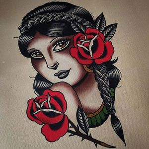 Braid girl by Danielle Rose #daniellerose #girlsgirlsgirls #ladyhead #traditional #painting