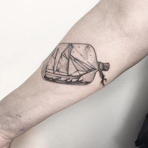Ship In A Bottle Tattoo by María Fernández #shipinabottle #shipinabottle #blackwork #blackworktattoo #linework #lineworktattoo #graphic #graphictattoo #blackink #illustrative #sketch #MariaFernandez