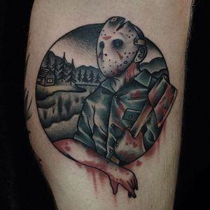 Jason Voorhees Tattoo by @nixontattooer #JasonVoorhees #FridayThe13th #horror #nixontattooer #13 #moviecharacter #axe #mask