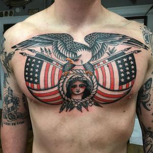American chest piece via instagram richhadley #flags #american #ladyliberty #eagle #color #traditional #flash #richhadley
