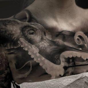 WIP octopus tattoo by Neon Judas #NeonJudas #DavidRinklin #blackandgrey #realistic #realism #macabre #horror #octopus