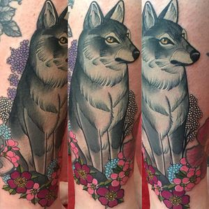 Wolf and Flower Tattoo by Charlotte Timmons @charlotte_eleanor88 #color #illustration #neotraditional #wolf #flowers #charlottetimmons #charlotte_eleanor88