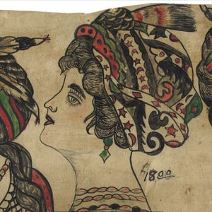 A lady head design by Gus Wagner. #GusWagner #SouthStreetSeaportMuseum #tattoohistory