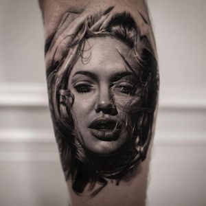 Angelina Jolie tattoo by Inal Bersekov #InalBersekov #portraittattoos #blackandgrey #realism #realistic #hyperrealism #portrait #AngelinaJolie #ladyhead #lady #babe #sexy #hair #lips #eyes