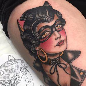 She's a hell cat by Jonny Farq #JonnyFarq #traditional #color #lady #pinup #portrait #cat #biker #leather #tattoooftheday