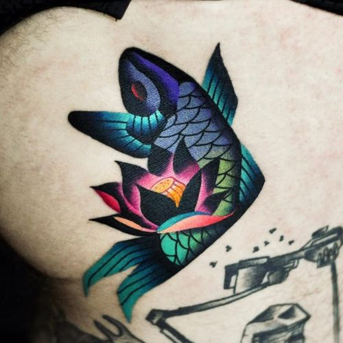 Lotus fish tattoo by David Peyote #DavidPeyote #naturetattoos #color #newtraditional #koi #fish #oceanlife #ocean #lotus #flower #abstract #tattoooftheday